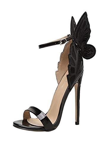 Dorical Damen Pumps Sandalen mit Metall Flügel/Damenschuhe Sexy Slingback Extreme High Heels Sandalen mit Schnalle Öffnen Zehe Stiletto Schuhe Glitzer Elegant Party-Schuhe
