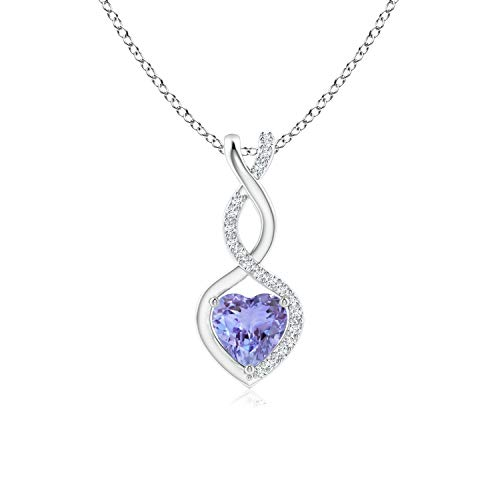 Heart Shaped Tanzanite Infinity Pendant Necklace with Diamonds in Sterling Silver (5mm Tanzanite)