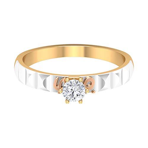 Anillo de compromiso solitario, anillo de boda de dos tonos, anillo de diamante redondo HI-SI 1/4 quilates, anillo Love Forever, Anillo de aniversario para mujeres, 14K Oro blanco, Size:EU 56