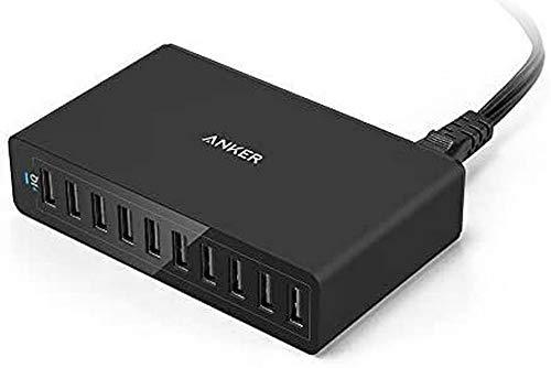 Anker PowerPort 10 60W 10 Port USB Ladegerat fur iPhone 6 6 Plus iPad Air 2 mini 3 Galaxy S6 S6 Edge und weitere Schwarz