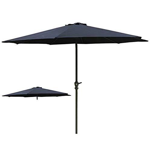 Parasols Rond, Construction à 8 Nervures Métalliques de Meubles de Jardin Parapluie D'extérieur avec Manivelle D'enroulement, Noir, Diamètre 2,7 m / 8,9 Pieds