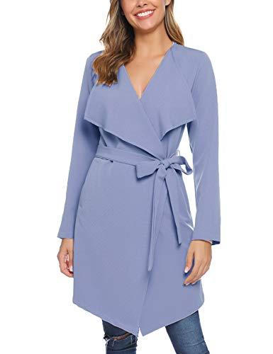 iClosam Damen Trenchcoat Mantel Mit Gürtel (Blaugrau, L)
