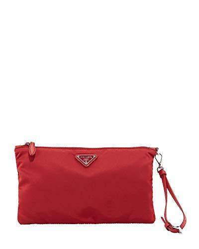 Prada Tessuto 1NH545 Handtasche, Nylon, mit Logo, silberfarben