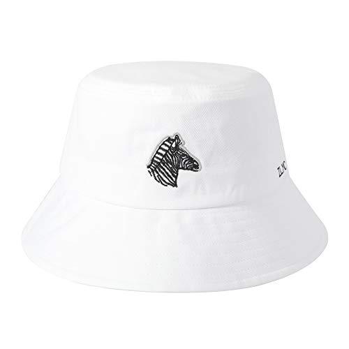 ZLYC - Gorro de pescador unisex con bordado de moda para hombre y mujer - Blanco - Talla única
