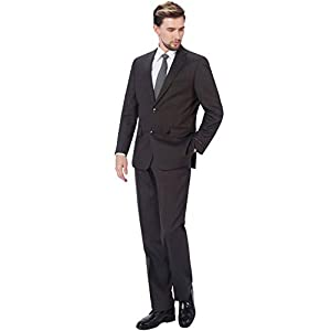P&L Men's 2-Piece Classic Fit Wool Blend Suit Single Breasted Two Button Jacket & Pants Set