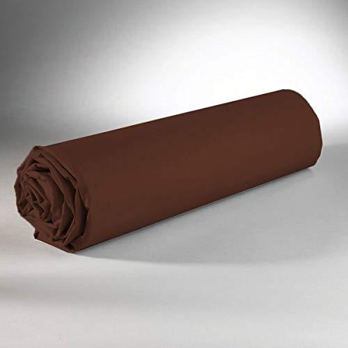 Linge de lit Drap housse chocolat 90 x 190 100% coton 57 fils jersey