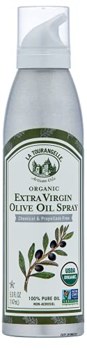 La Tourangelle Extra Virgin Olive Oil Spray, Cold-Pressed Extra Virgin, All-Natural, Artisanal, Great for Cooking, Sauteing, Grilling, and Dressing, Cooking Spray Oil, 5 fl oz
