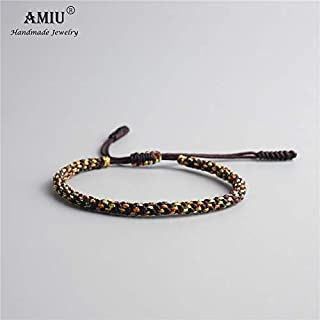 Gabcus Tibetan Buddhist Lucky Charm Tibetan Bracelets & Bangles for Men Handmade Knots Nylon Thread Red Rope Bracelet - (Metal Color: 1)