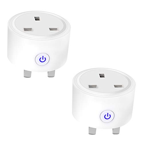 2-PCS Wrpacttg Smart Plug, WiFi Outlet, WiFi Plug Smart Life Plug, Wireless Socket Smart Socket Compatible with Alexa, Google Home, Remote and Voice Control Timing Function, No Hub Required