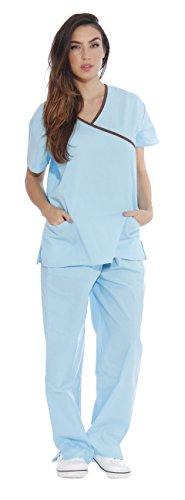 11149W Just Love Women's Scrub Sets / Medical Scrubs / Nursing Scrubs - S, Aqua with Chocolate Trim,Aqua With Chocolate Trim,Small