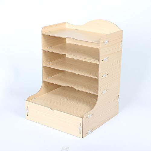 WJF Office Desk-Dateikorb Hölzerner Aktenständer Desktop Expressbestellung Aufbewahrungsbox Dokument Lagerregal Fertiggestell Buch Rechnungsticket Aufbewahrungsbox (Farbe : #1)