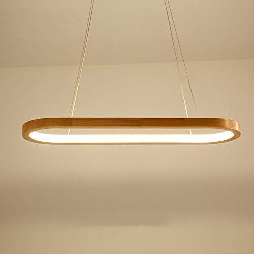 Lámpara de techo Nordic Simple Oval Solid Wood Comedor Cuartaza de araña Tamaño 70 cm * 20 * 80 cm lámpara de araña Iluminación Iluminación Restaurante Dormitorio Estudiar Estudio de la sala de estar