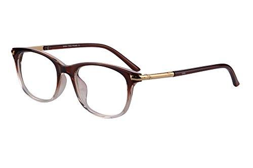 SHINU Horn Rimmed Readers Progressive Multifocus Computer Reading Glasses-SH017(Brown&Transparent,x2)