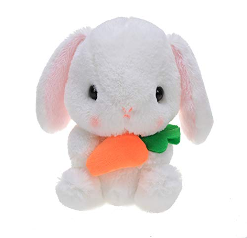 Plushland Easter White Stuffed Bunny Animal with Carrot Soft Lovely Realistic Long-Eared Standing Rabbit Plush Toy