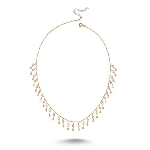 Bulvardi Collar de fantasía de circón de Plata de 925 Quilates Recubrimiento Especial contra la atenuación Regalo Adecuado par