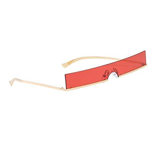 Randlose Sonnenbrille Der Art- Und Weiserechteckige Retro- Eyewear-Schmalen - Rot