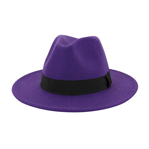 jieGorge Men & Women Vintage Wide Hat with Belt Buckle Adjustable Outbacks Hats, Hat, Clothing Shoes & Accessories (Purple)