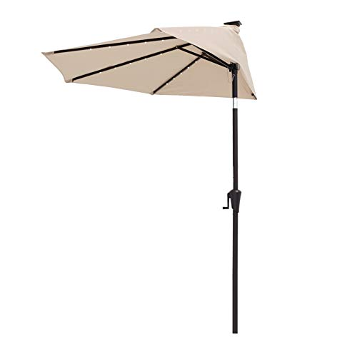 FLAME&SHADE 9 ft Half Outdoor Patio and Table Umbrella with Solar LED Lights and Tilt - Beige