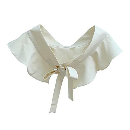 SOIMISS Mujeres Cuello Falso Camisa Desmontable Cuello Volante Decorativo Bowknot Cuello Falso Media Blusa de Camisa para Niñas Mujeres (Beige)