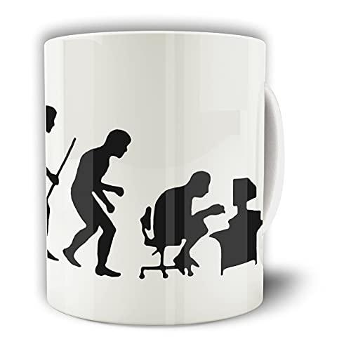 Nerdy Novelty - Taza de té con diseño de evolución de un ordenador Nerd hermosa, elegante y duradera, tazas garantizadas que te gustan 11 onzas