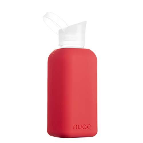 NUOC | Botella de agua cristal | 500 ml | Botella de agua reutilizable | Botella de cristal con funda de silicona | Bebidas frías y calientes | sin BPA, ecológica y ligera | Deporte, oficina,