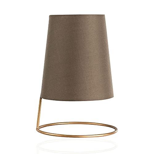 Pauleen 480.01 48001 Shiny Circle Max20W luminaire à PoserE14 Lampe de Chevet Brun Doré 230V métal/Tissu sans Ampoule, Taupe