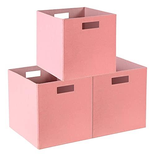 Childishness ndup - Cubo de almacenamiento plegable, 3 paquetes, cubos de almacenamiento plegables con doble asa, cestas de...