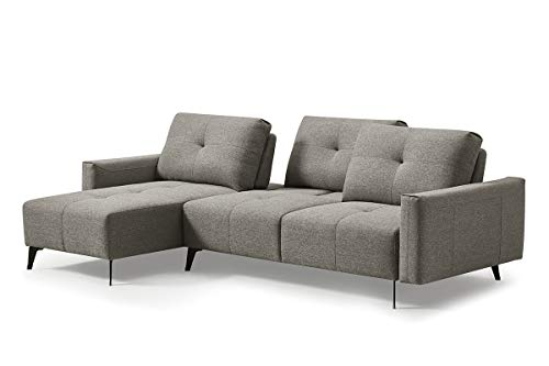 Meubletmoi hoekbank links stof grijs verstelbare rugleuningen – modern design vintage – Smart