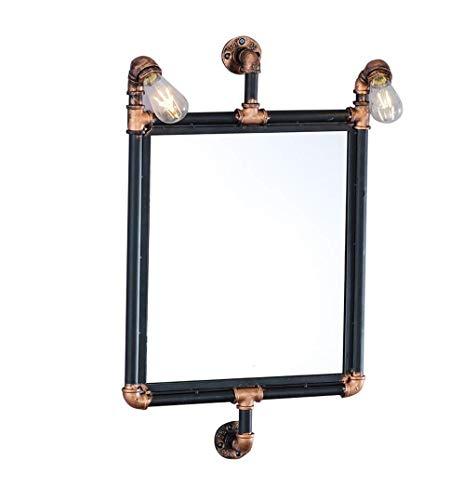 SHY Espejo de Maquillaje, tubería de Agua Retro Industrial Viento Espejo Colgante de Pared Espejo Cuadrado Bar Espejo de Maquillaje de Hotel Espejo de baño Espejo decorat