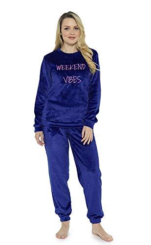 CityComfort Schlafanzug Damen Winter | Pyjama Damen Warm Flauschig | Schlafanzug Lang mit Bündchen | Nachtwäsche Zweiteiliger Schlafanzüge Fleece Weich Elegant (44/46, Dunkelblau)