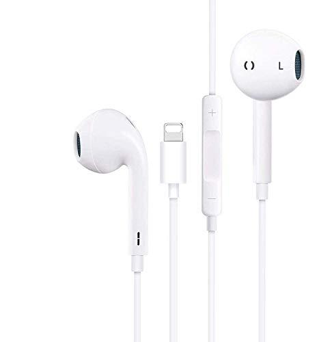 In-Ear Kopfhörer für iPhone 11 HiFi-Audio Stereo Kopfhörer Ohrhörer, mit Mikrofon und Lautstärkeregler, kompatibel mit iPhone 7P/ 8/8P/X/XS Max/11/11Pro, unterstützt alle iOS Systeme-Weiß