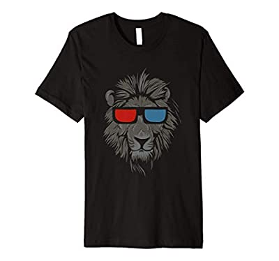 Lion Face wearing Stereoscopic 3D Glasses T-Shirt