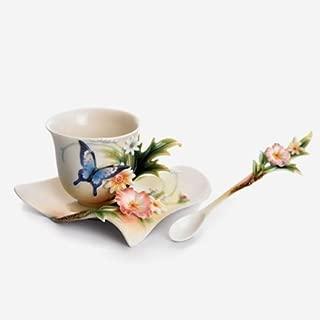 Franz Fluttering Beauty Flower and Butterfly Design Sculptured Porcelain Cup Saucer and Spoon Set