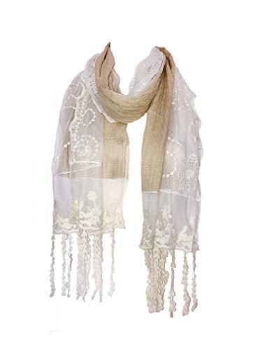 Pamper Yourself Now Beige mit Creme Flower Lace mit Fransen Schal- Beige with cream flower lace trim with tassels scarf
