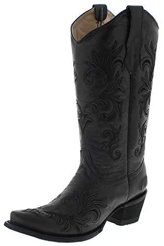 Circle G Boots Damen Cowboy Stiefel L5142 Black Westernstiefel Lederstiefel Schwarz 37.5 EU