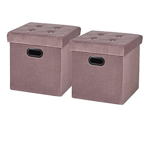 WOLTU Sitzhocker Sitzwürfel Fußhocker mit Stauraum Aufbewahrungsbox Truhen faltbar, Deckel abnehmbar, mit Griffe, Gepolsterte Sitzfläche aus Samt, 37,5x37,5x38CM, Rosa, SH72rs-2