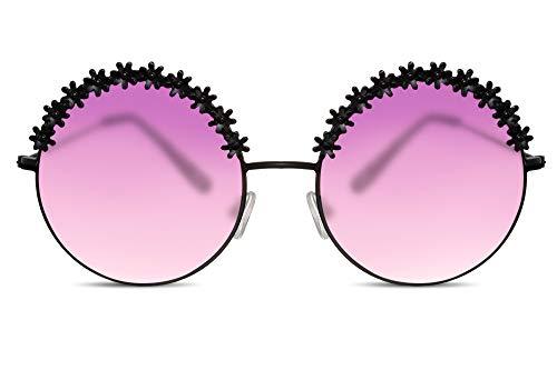 Cheapass Occhiali da Sole Rotondi Neri Oversized XXL con Occhiali Gradienti Traslucenti Viola