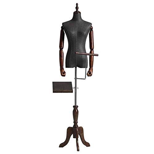 Maniqui Costura Torso de Maniquí Femenino Negro con Trípode Ajustable, Perchero y Exhibición de Pantalones - para Exhibición de Ropa/Decor de La Habitación/Escaparate