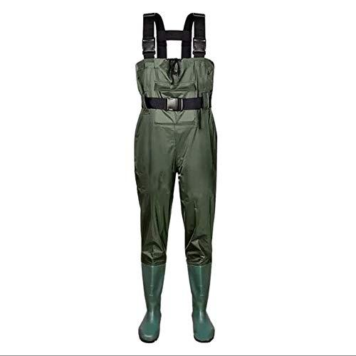 Jinjin wasserdichte Wathose mit Stiefeln, Nylon und PVC mit Watgürtel für Männer und Frauen, verdickte Angelhose,UK5/EU39