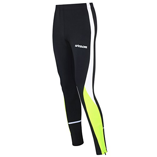 Airtracks Winter Funktions Laufhose Lang/Damen oder Herren/Thermo Running Tight/Atmungsaktiv/Reflektoren - schwarz - neon - XXL - Herren
