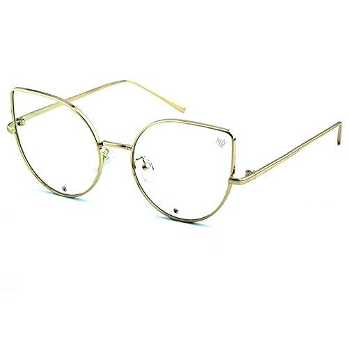 KISS Gafas neutras MyRetro PREMIUM mod. PIGALLE - montura óptica OJO DE GATO mujer vintage GLAMOUR - GOLD