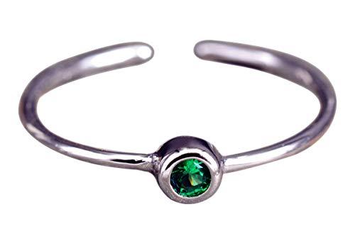 NicoWerk Damen Silberring Schmal aus 925 Sterling Silber mit Stein Schlicht Grün Zirkonia Verstellbar Offen SRI412