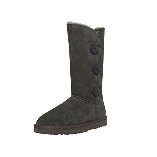 SKUTARI Triple Button Boots, In Handarbeit gefertigte Kniehohe italienische Damen-Lederstiefel mit kuscheligem Kunstfellfutter und Anti-Rutsch-Sohle (38 EU, Grau)