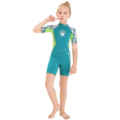 Wetsuit Kids Shorty Neoprene Thermal Diving Swimsuit 2.5MM for Girls Boys Child Teen Youth Toddler, One Piece Children Rash Guard Swimming Suit UV Protection Sunsuit for Surfing (Girl Green, L)