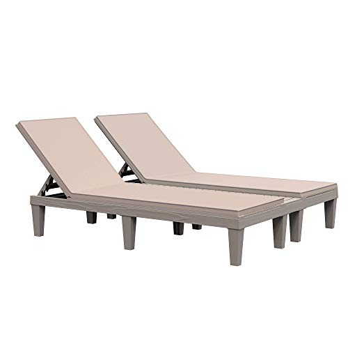 Outsunny Outdoor Patio Double Chaise Lounge Chair with 5-Level Adjustable Backrest, Zippered Cushions, & Modern Design