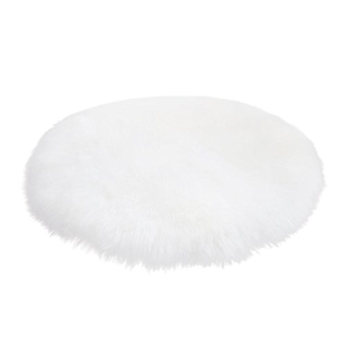 Beautyjourney Douce Peau De Mouton Artificielle Couverture Chaise De Laine Artificielle Tapis Chaud Poil De Selle Couverture Sirene 30 * 30CM (Blanc)
