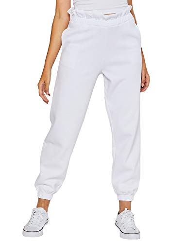 esstive Women's Ultra Soft Fleece Comfortable Basic Lightweight Casual Active Workout Paper Bag Waist Band High Rise Joggers Sweatpants, White, X-Small