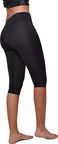 Yoga 3/4 Capri Fitness Donna Capri Legging Sportivi a Vita Alta Controllo della Pancia, Nero 84484 S-M