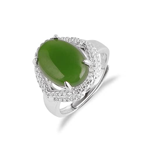 Yisss S925 Sterly Silver Art Nouveau Style Vintage-Inspired Jade Green Jade and Zircon Declaración Anillo, Apertura de Anillo de Jade Natural es Ajustable,