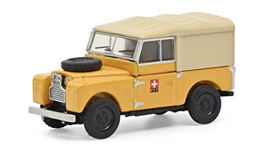 Schuco 452662200 Land Rover 88 PTT, Schweizer Post Version mit Verdeck, Modellauto, Maßstab 1:87, gelb